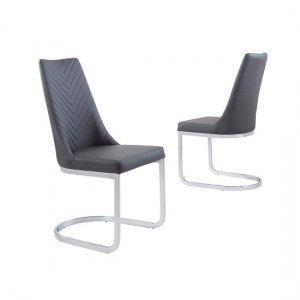 Curva Grey Faux Leather Dining Chair In Pair