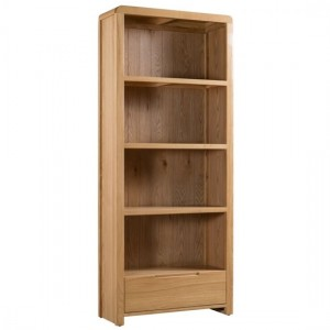 Curve Wooden 3 Shelves Tall Bookcase In Oak