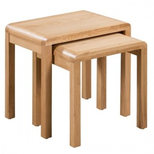 Curve Wooden Nest Of Tables In Oak