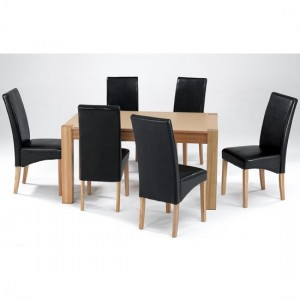 Cyprus Large Wooden Dining Set In Natural Ash With 6 Chairs
