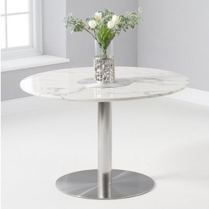 Belgrave Round Marble Table In White Gloss With Metal Base