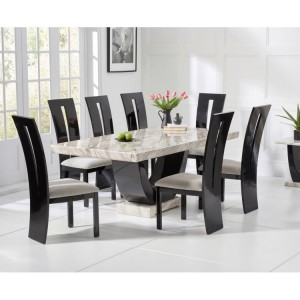 Memphis Marble Dining Table In Cream With 8 Arizona Grey Chairs