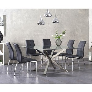 Casa Square Glass Dining Table In Clear With 4 Ramet Grey Dining Chairs