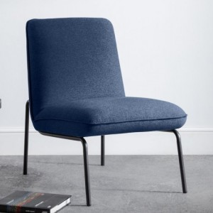 Dali Fabric Upholstered Bedroom Chair In Blue Wool Effect