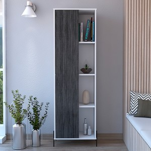 Dallas Tall Wooden Storage And Display Cabinet In Carbon Grey Oak