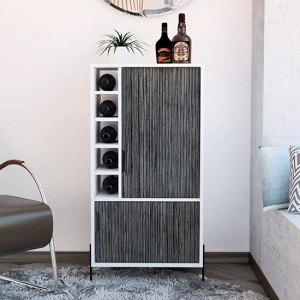 Dallas Wooden Drinks And Storage Bar Cabinet In Carbon Grey Oak