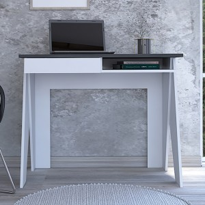 Dallas Wooden Home Office Computer Desk With Drawers In Carbon Grey Oak