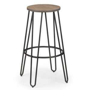 Dalston Round Wooden Bar Stool In Mocha Elm