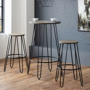 Dalston Wooden Bar Table In Mocha elm With 2 Stools
