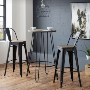 Dalston Wooden Bar Table With 2 Grafton Bar Stools