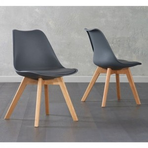 Dannii Dark Grey Faux Leather Dining Chairs With Oak Legs In Pair