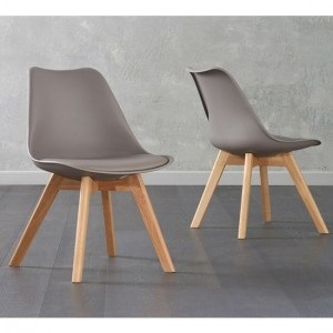 Dannii Taupe Faux Leather Dining Chairs With Oak Legs In Pair