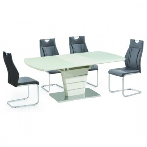 Dartmoor Extending Wooden Dining Set In White High Gloss With 6 Chairs