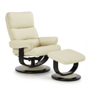 Seville Contemporary Recliner Chair In Cream Faux Leather With Footstool