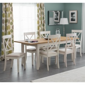 Davenport Extending Oak And Ivory Dining Table With 6 Chairs