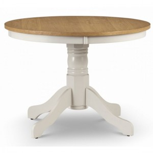 Davenport Round Wooden Dining Table In Oak And Ivory