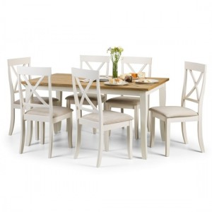 Davenport Wooden Dining Table In White And Ivory With 6 Chairs