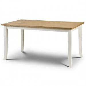 Davenport Wooden Dining Table In Oiled Oak And Ivory