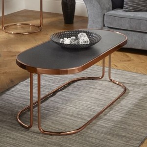 Dawn Stone Glass Top Coffee Table With Rose Gold Base