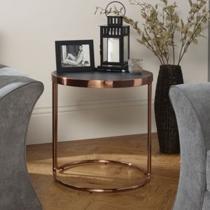 Dawn Stone Glass Top Lamp Table With Rose Gold Base