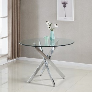 Panama Dining Table Round In Clear Glass With Chrome Legs