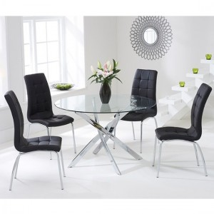 Daytona Round 110cm Clear Glass Dining Set With 4 Black California Chairs