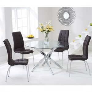 Daytona Round 110cm Clear Glass Dining Set With 4 Brown California Chairs
