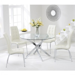 Daytona Round 110cm Clear Glass Dining Set With 4 Cream California Chairs