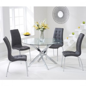 Daytona Round 110cm Clear Glass Dining Set With 4 Grey California Chairs
