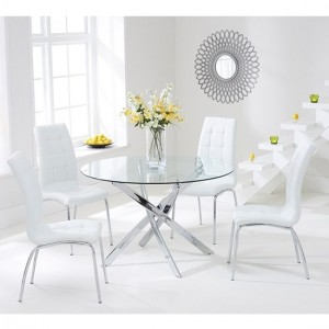 Daytona Round 110cm Clear Glass Dining Set With 4 Ivory White California Chairs
