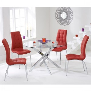 Daytona Round 110cm Clear Glass Dining Set With 4 Red California Chairs