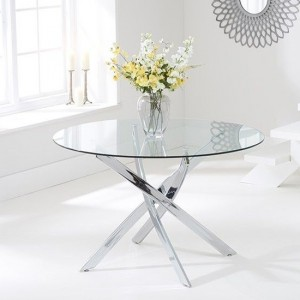 Daytona Round Glass Dining Table With Chrome Stainless Steel Legs