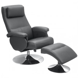 Denton PU Leather Recliner With Footstool In Black With Metal Base