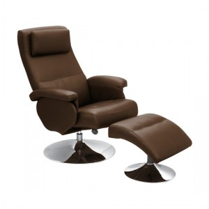 Denton PU Leather Recliner With Footstool In Brown With Metal Base