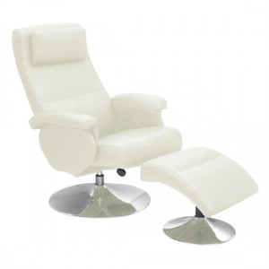 Denton PU Leather Recliner With Footstool In Cream With Metal Base