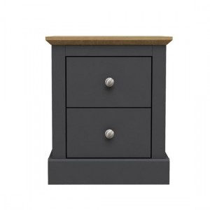 Devon Wooden Bedside Cabinet In Charcoal With 2 Drawers