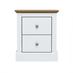 Devon Wooden Bedside Cabinet In White With 2 Drawers