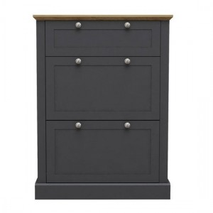 Devon Wooden Shoe Storage Cabinet In Charcoal
