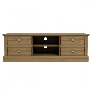 Devon Wooden TV Stand In Oak With 4 Drawers