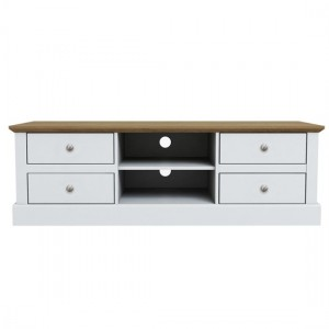 Devon Wooden TV Stand In White With 4 Drawers