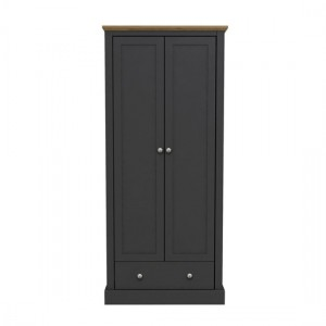 Devon Wooden Wardrobe In Charcoal With 2 Doors And Drawer