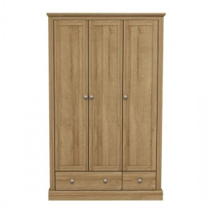 Devon Wooden Wardrobe In Oak With 3 Doors And 2 Drawers