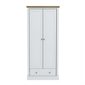 Devon Wooden Wardrobe In White With 2 Doors And Drawer