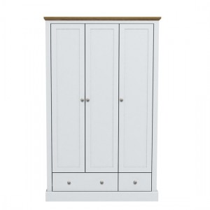 Devon Wooden Wardrobe In White With 3 Doors And 2 Drawers
