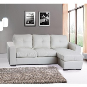 Diego Full Bonded Leather Chaise Sofa Bed In White