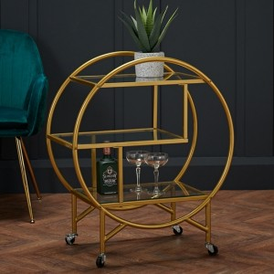 Dixie Clear Glass Shelves Drinks Trolley In Gold