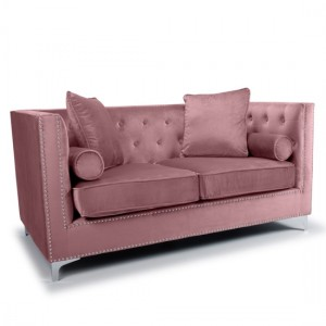 Dorchester Brushed Velvet 2 Seater Sofa In Pink Blush