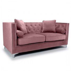 Dorchester Brushed Velvet 3 Seater Sofa In Pink Blush