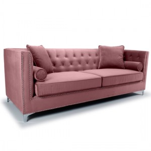 Dorchester Brushed Velvet 4 Seater Sofa In Pink Blush