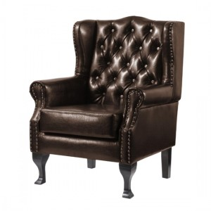 Dorchester PU Leather Armchair In Brown With Wooden Legs